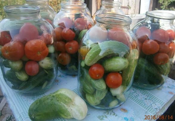 Маринованные помидоры с огурцами на зиму