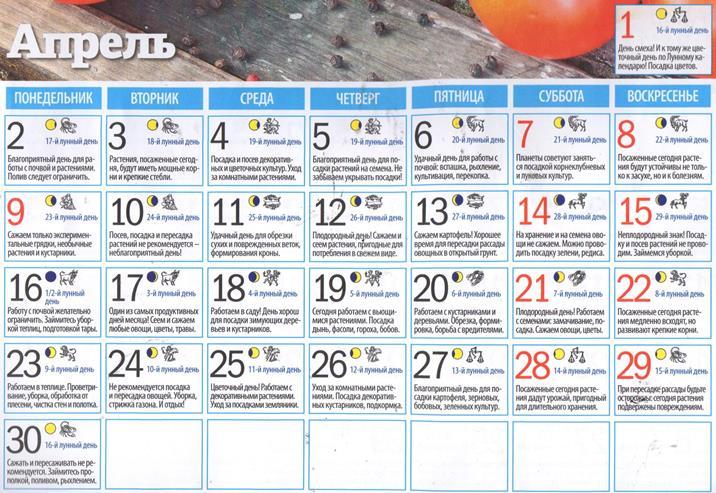 Лунный календарь на апрель 2018 года для садоводов, огородников, цветоводов (таблица)