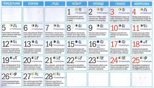 Лунный посевной календарь на февраль 2018 года для садоводов и огородников (таблица)