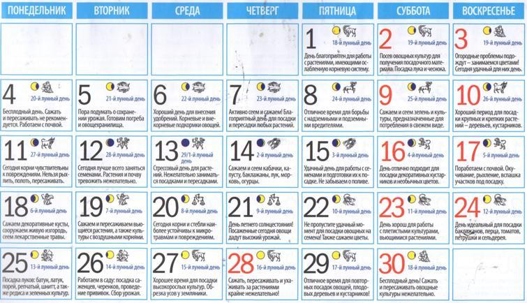 Лунный посевной календарь по дням на июнь 2018 года (таблица)